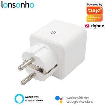 Lonsonho Tuya ZigBee Smart Plug EU 16A Power Monitor Timer Socket Smart Home Wireless Compatible Alexa Google Home Assistant 2pcs lot cdebyte e18 ms1 ipx spi smd 2 4ghz cc2530 wireless zigbee smart home automation module