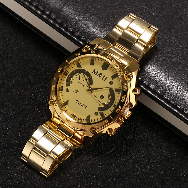 Men Gold Fashion Luxury Brand M&H Quartz Wrist Watch Men High Quality Steel Men's Dress Watches reloj hombre relogio masculino
