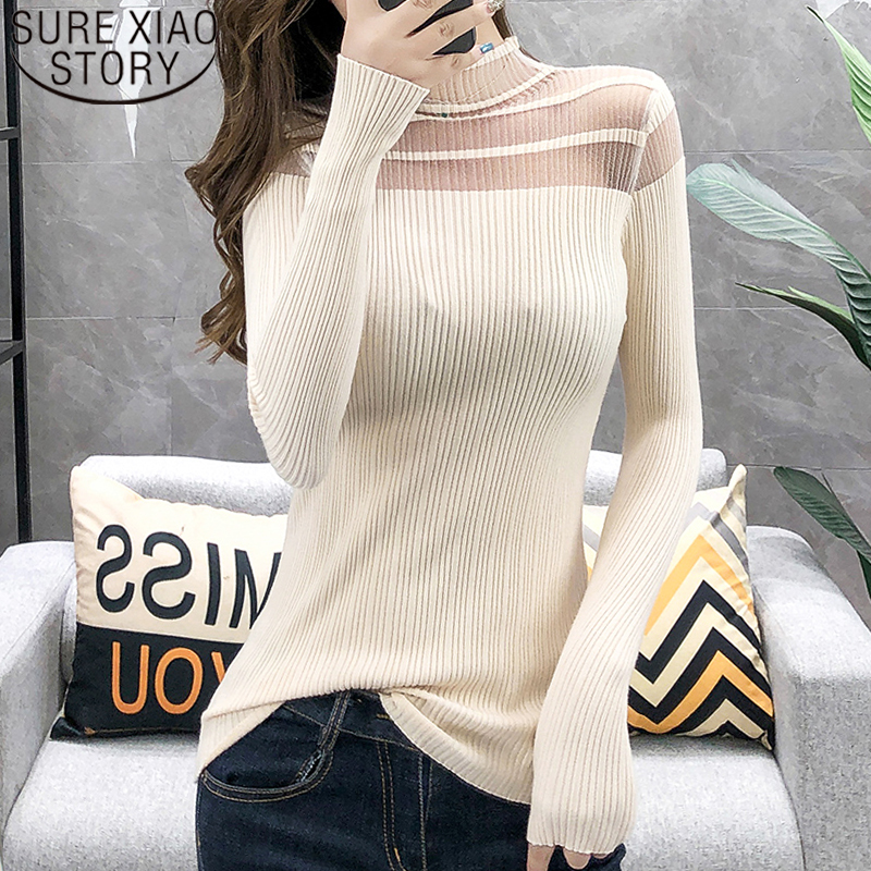 Autumn Faashion Women Sweaters 2019 Ladies Tops Solid Black Sweater Pullovers Turtleneck Knit Sweater Women Tops Sweater 6217 50