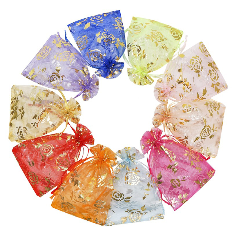 100Pcs/lot 7X9cm 9X12cm 11X16cm 13X18cm Gold Love Heart Rose Organza Bag Wedding Voile Gift Christmas Bags Jewelry Packing