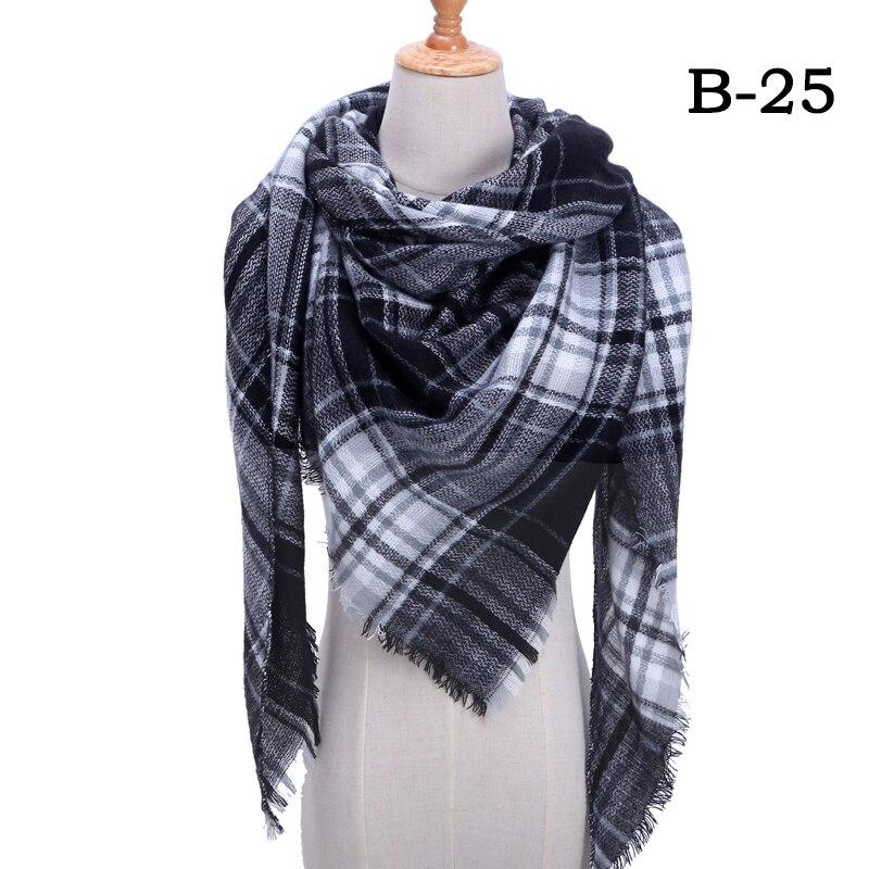 Женский зимний шарф в ретро стиле, кашемировые вязаные пашмины шали, женские мягкие треугольные шарфы, бандана, теплое одеяло, новинка - Цвет: bb25
