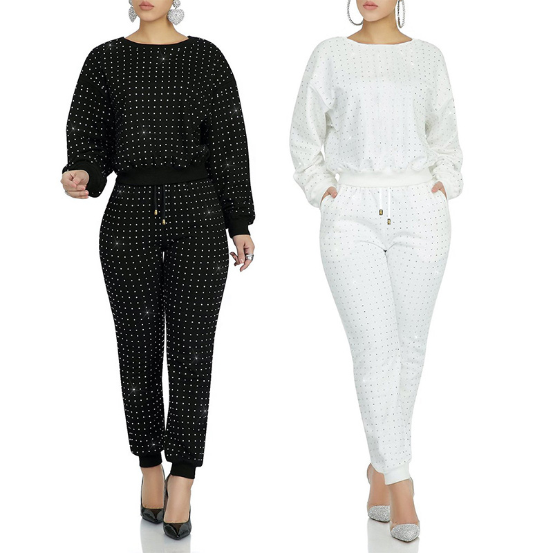 Casual Women Two Pieces Set Diamond Sweater Coat + Long Pants Tracksuit Women Jogging Femme Solid Color Black White Plus Size