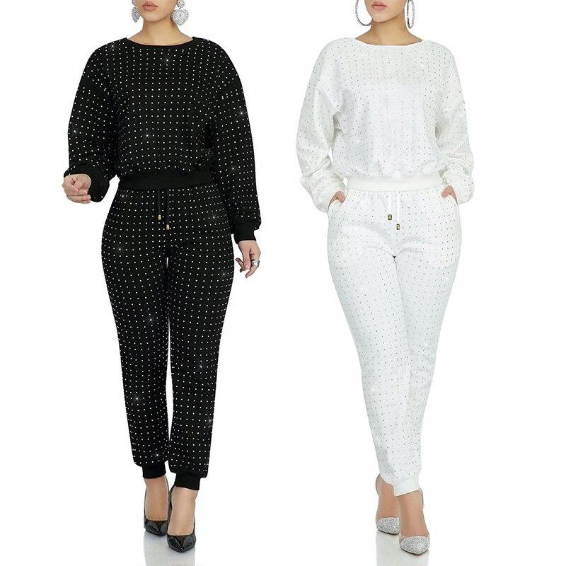 Casual Women Two Pieces Set Diamond Sweater Coat + Long Pants Tracksuit Women Jogging Femme Solid Color Black White Plus Size