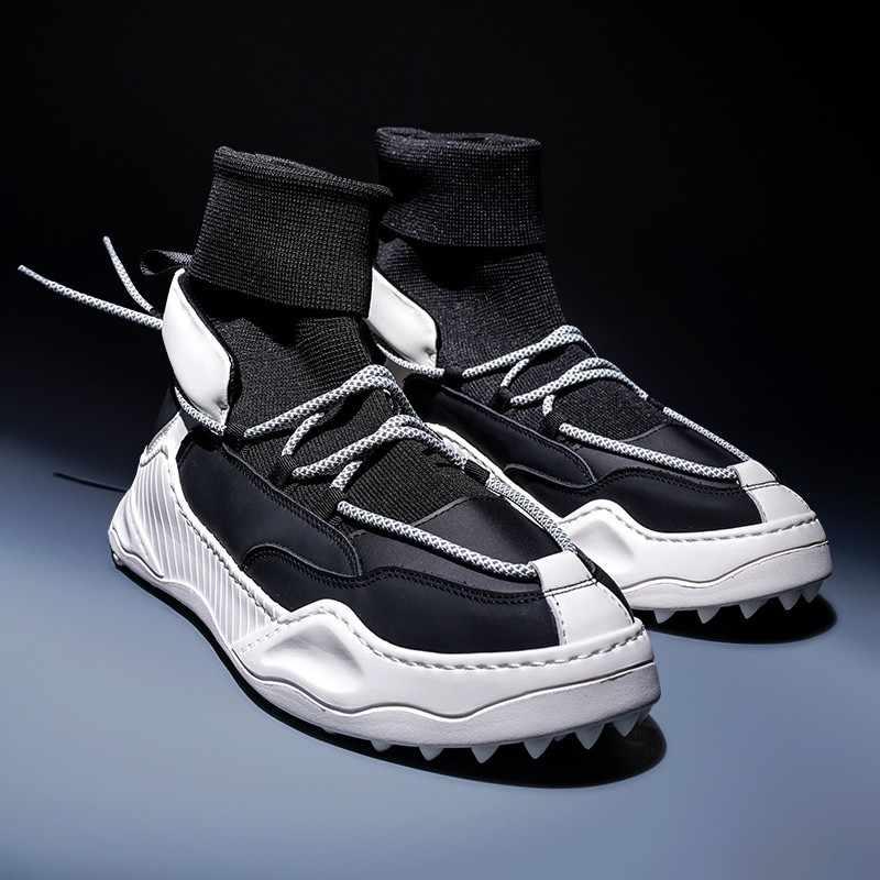 Elastyczne skarpetki buty męskie wiosna jesień Casual sportowe buty za kostkę mieszane kolory okrągłe Toe zasznurować męskie grube dno trampki