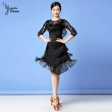 Adult Latin Dance Costume Skirts for Women 2020 New Black Dance Practice Clothes Performance Dress Tassel Tops Skirt Red Summer