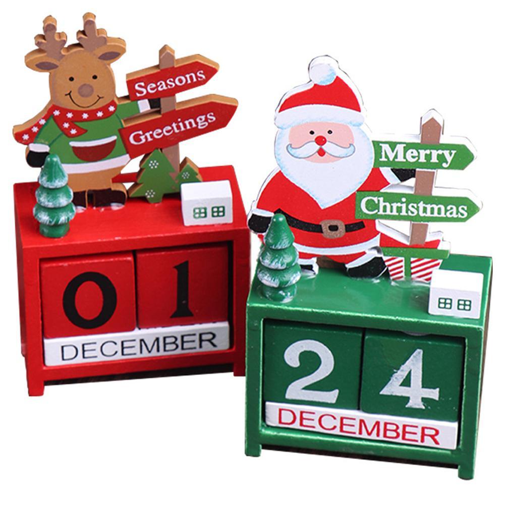 GloryStar Christmas Calendar Fabric Countdown Santa Claus Snowman Elk Christmas Ornaments Table Decor
