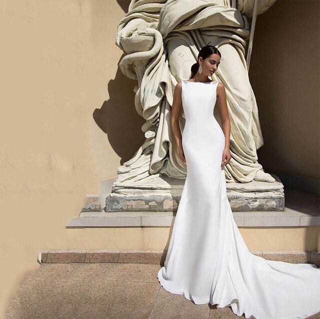 Vestido de casamento sereia e boho, com miçangas decote em v, sexy, costas nuas, vestido de noiva feito sob encomenda 2020