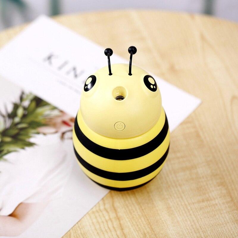 Cute Bee Air Humidifier Aroma Diffuser USB Air Purifier LED Light for Car Home