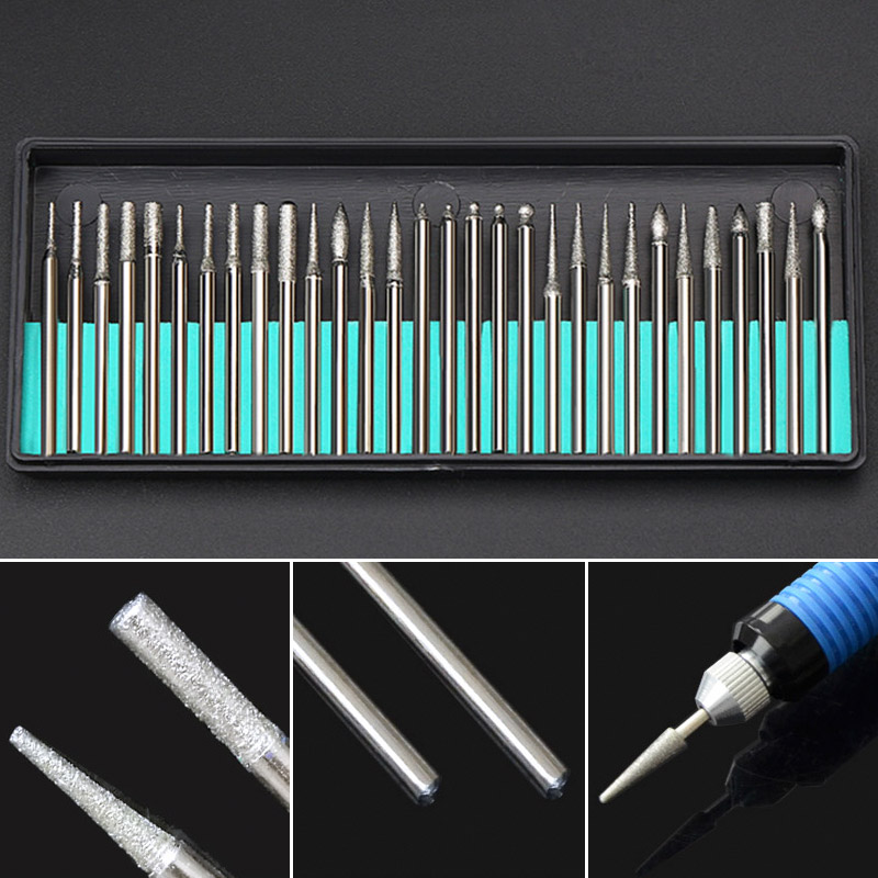 30PCS 2.35mm Shank Diamond Grinding Burr Needle Point Engraving Carving Polishing Glass Jade Stone Drill Bit Rotary Tool Set