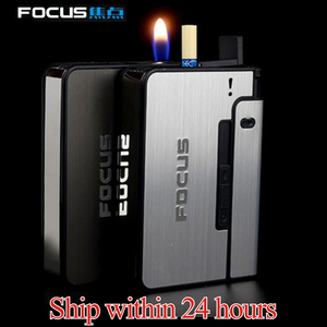 FOCUS Portable Metal Cigarette Boxes With Kerosene Oil Lighter 10pcs Cigarette Holder Case Lighter Gadget For Men Christmas Gift