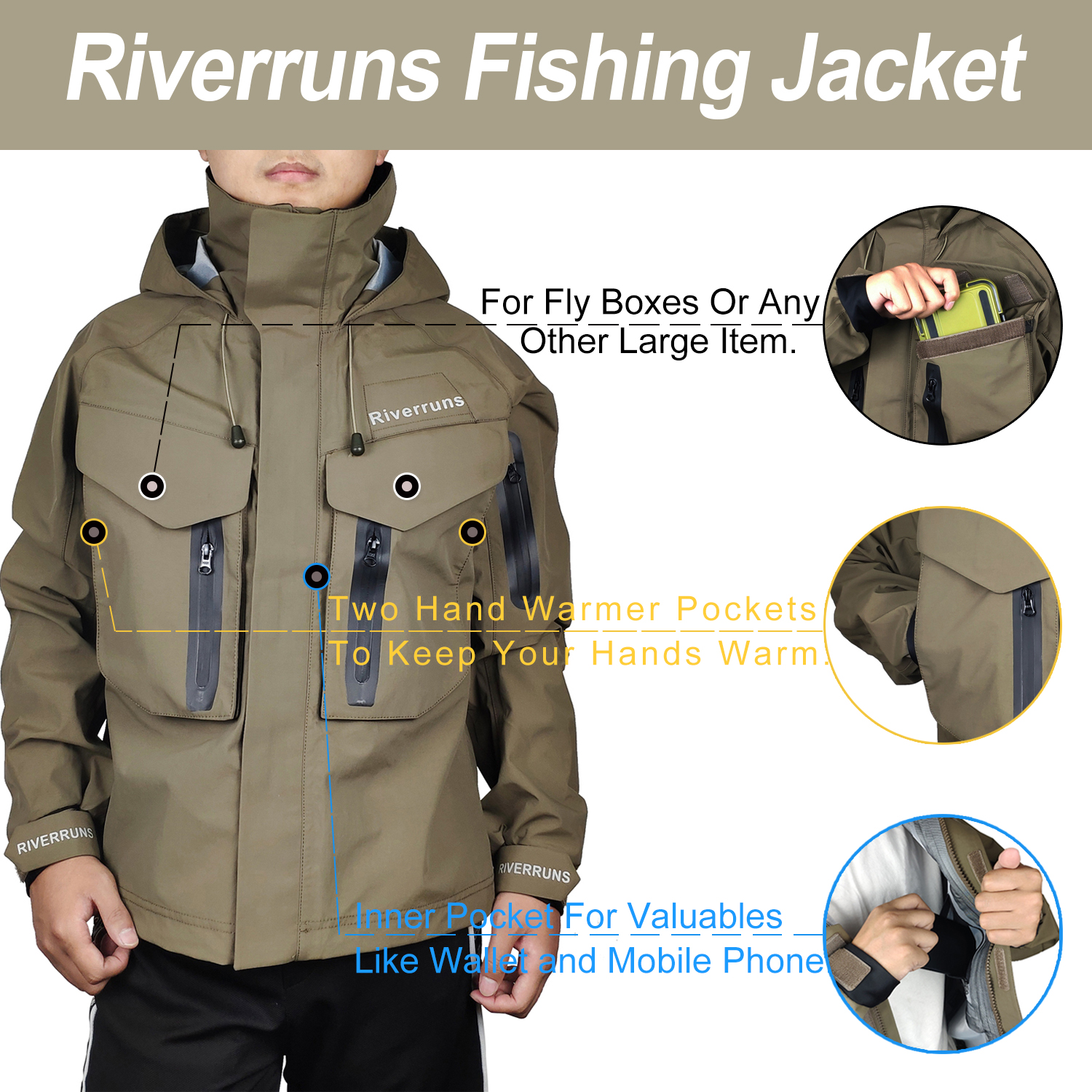 Aventik Fishing Jacket Breathable Outdoor Waterproof Rain Wading Jacket For Men Fishing Clothes Hiking Kayak And Hunting