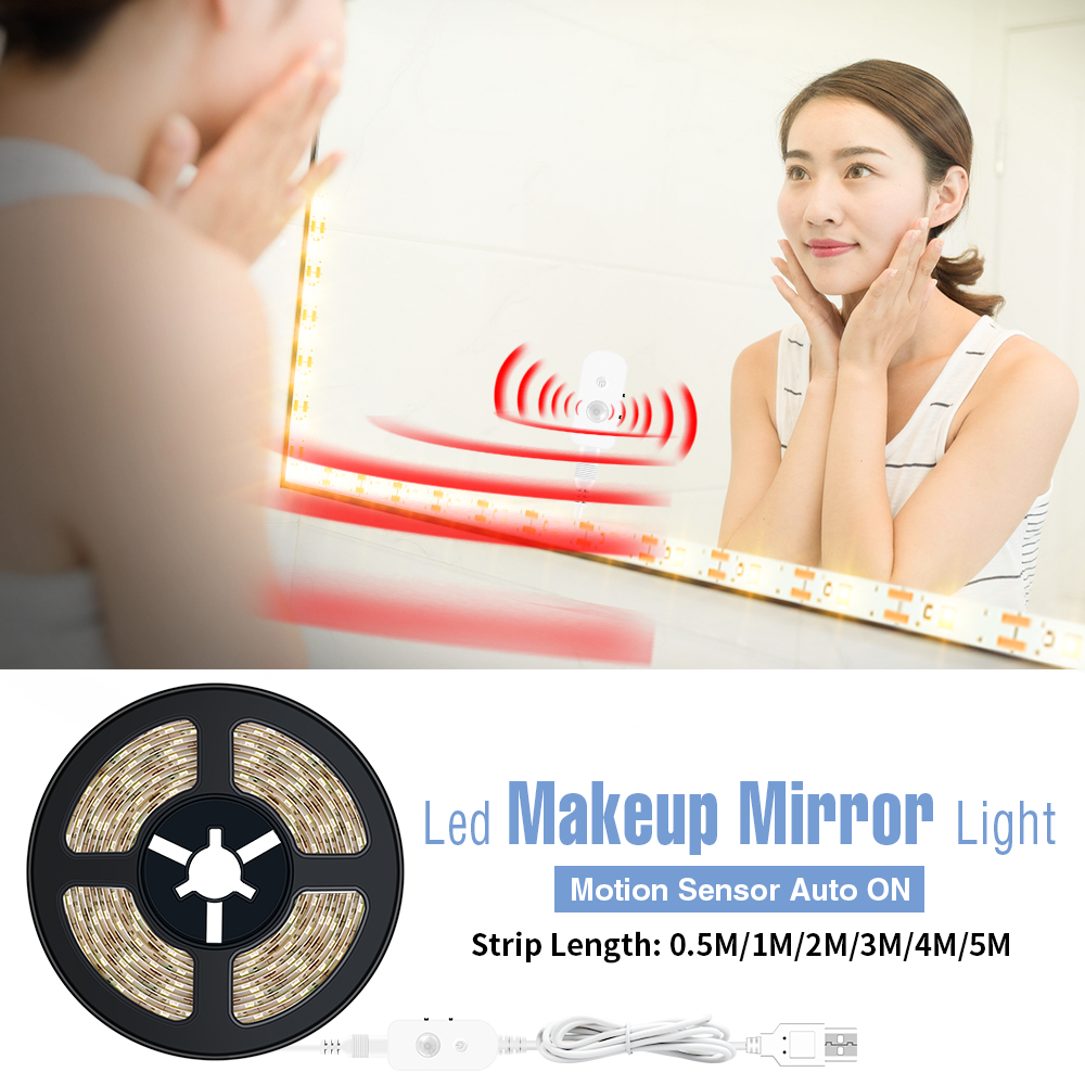 1M-5M Makeup Mirror Light Led Motion Sensor Lamp USB 5V Dressing Table Bathroom Lamp Tape Led Vanity Mirror Make Up Light Strip