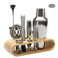 10pcs Cocktail Shaker Set Stainless Steel Wine Mixer Liquor Red Wine Cocktail Shaker Bartender Tool Set Oval Wooden Stand Base