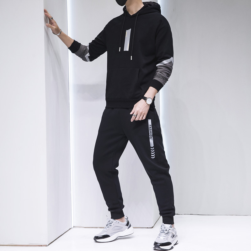 2020 Popular Brand Autumn And Winter New Style Long-sleeved Sweater Hooded Two-Piece Set Men Casual Sports Clothing Set