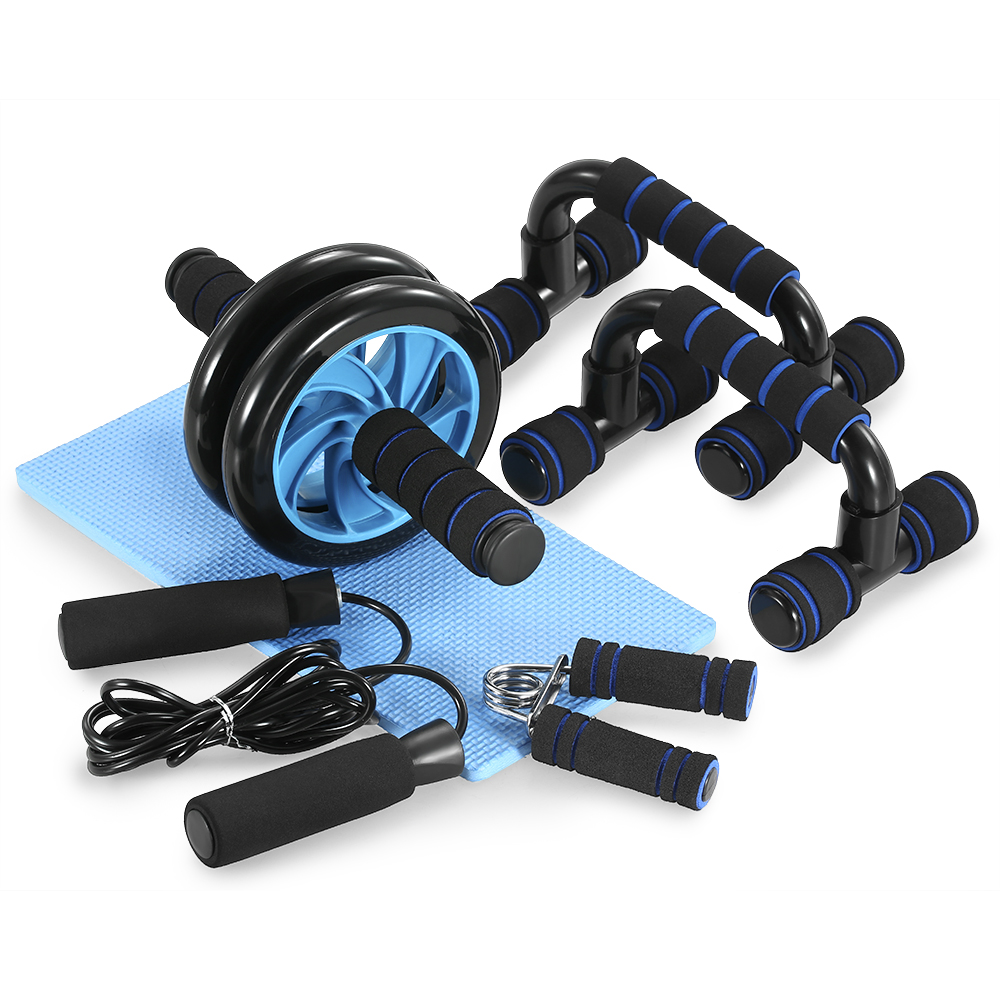 TOMSHOO 5-In-1 AB Wheel Roller Kit Press Roller Push-Up Bar Jump Rope Hand Gripper Knee Pad Abdominal Home Gym Fitness Equipment