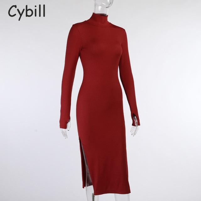 Cybill Long Sleeve Turtleneck Midi Dress Split Autumn Winter Ribbed Knitted Dress Casual Red Black Dresses Women 5