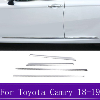 4pcs/set ABS Chrome Side Door Car Body Molding Trim Cover Accessories Decoration Fit For Toyota Camry XV70 2018 2019