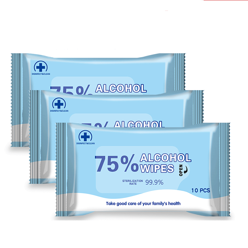 10Pcs/Pack 75% Alcohol Wet Wipes Antiseptic Cleaning Sterilization Hand Care Cleaning Wet Sterilization Wipes Disinfection Wipes