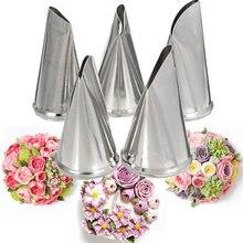 5pcs Rose Petal Cream Tips Tulip Flower Icing Piping Nozzles Confectionery Fondant Baking Cake Decorating Tools Pastry Syringe