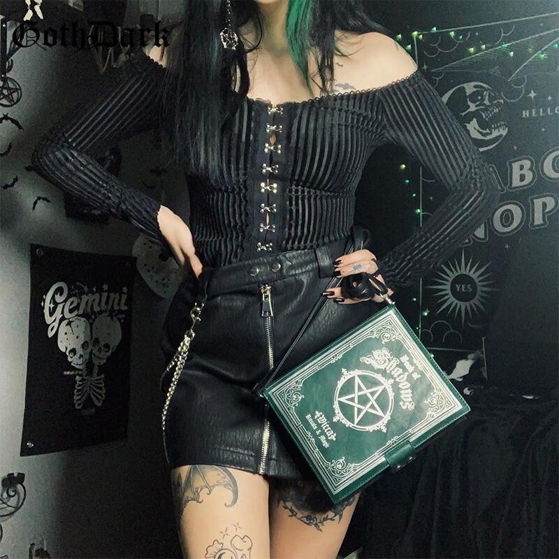 Goth Dark Vintage Gothic Egirl Punk Hip Hop Female Tshirts Harajuku Off Shoulder Aesthetic Longsleeve Tshirt Button Spring 2020