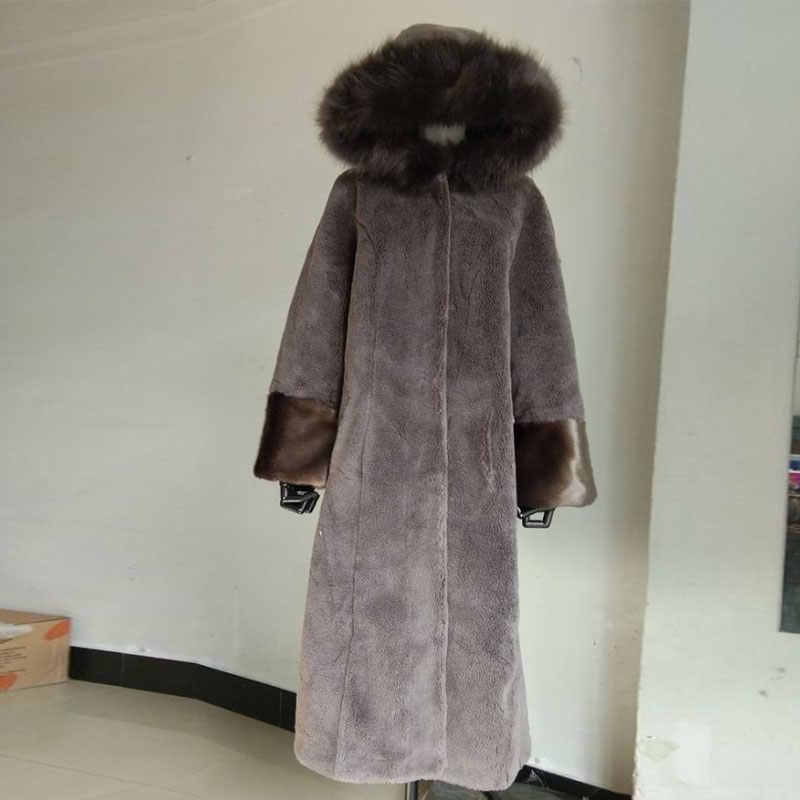 Koyun makaslanmış ceket kadın 2019 kış yeni tilki kürk yaka kapşonlu diz Haining su vizon kürk ceket dış giyim m-4XL
