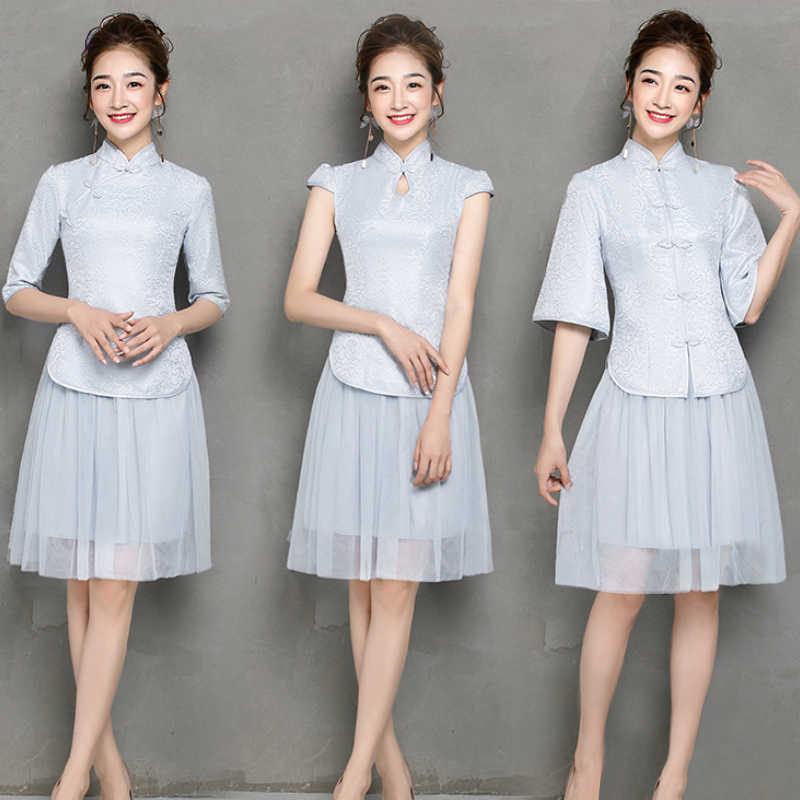 Комплект из 2 предметов элегантное платье Cheongsam с коротким рукавом серое подружки