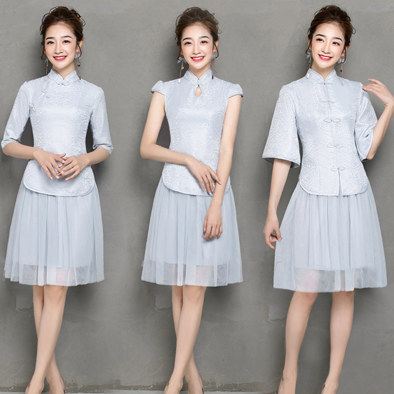 2 Pieces Set Elegant Cheongsam Half Sleeve Gray Bridesmaid Dress For Women Vestido Dresses Prom Guest Party Dresses Qipao Sister