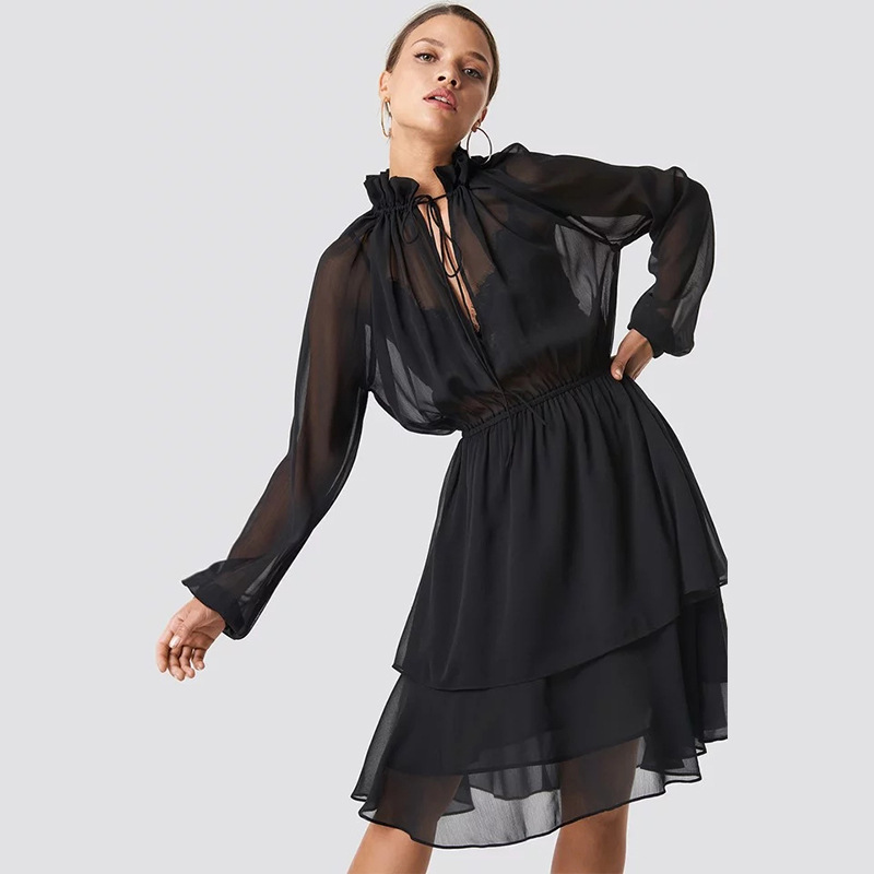 Layers Long Sleeve Stand Bandage Collar Chiffon Dress Women Fashion Elastic Waist Midi Dress Solid Color Transparent Vestidos