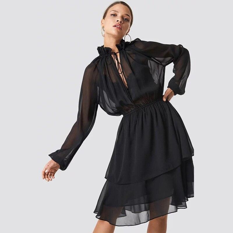Layers Long Sleeve Stand Bandage Collar Chiffon Dress Women Fashion Elastic Waist Midi Dress Solid Color Transparent Vestidos
