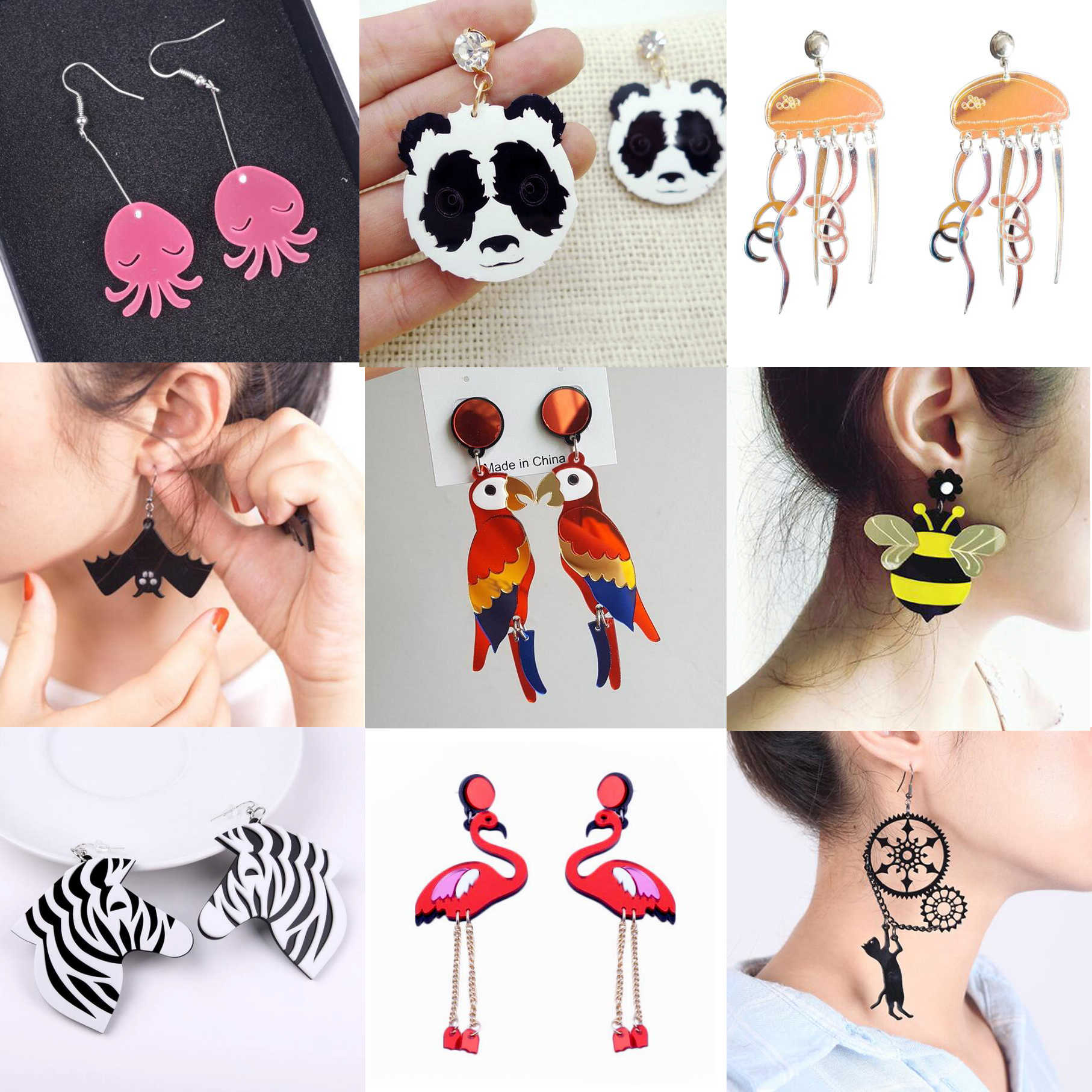 Earrings For Women Kelly Earrings Fashion Charm Exaggerated Eardrop Trendy Dangler Hip Hop Girls Jewelry Gift Cute Sweet Animals