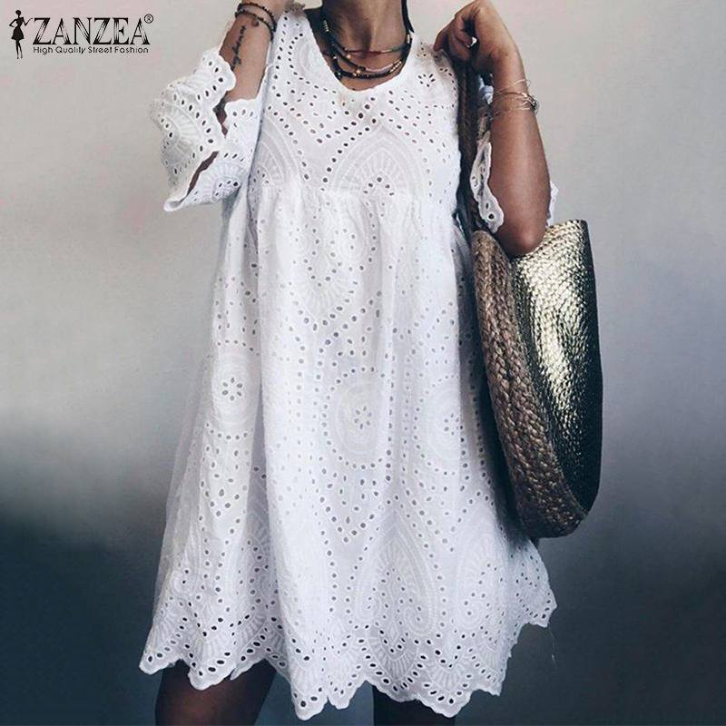 Summer Lace Crochet Hollow Dress ZANZEA 2019 Women Short Sundress Casual Vintage Solid Short Sleeve Cotton Vestidos Famele Robe