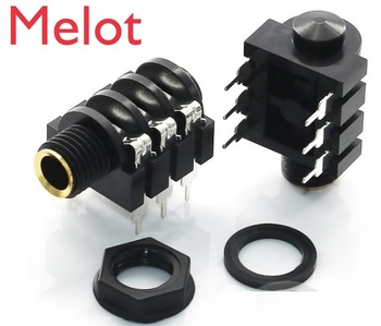 """100 pcs Screw 0.25"""" 1/4 6.35 mm Microphone Jack Socket 6 Contact 3 Conductor Stereo 6.50 mm Right Angle Through Hole PCB Solder"""