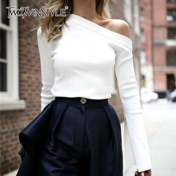 TWOTWINSTYLE White Female T-Shirt Off Shoulder Slash Neck Sexy Top Split Long Sleeve Women's T-shirts Korean Clothes Large Sizes 1
