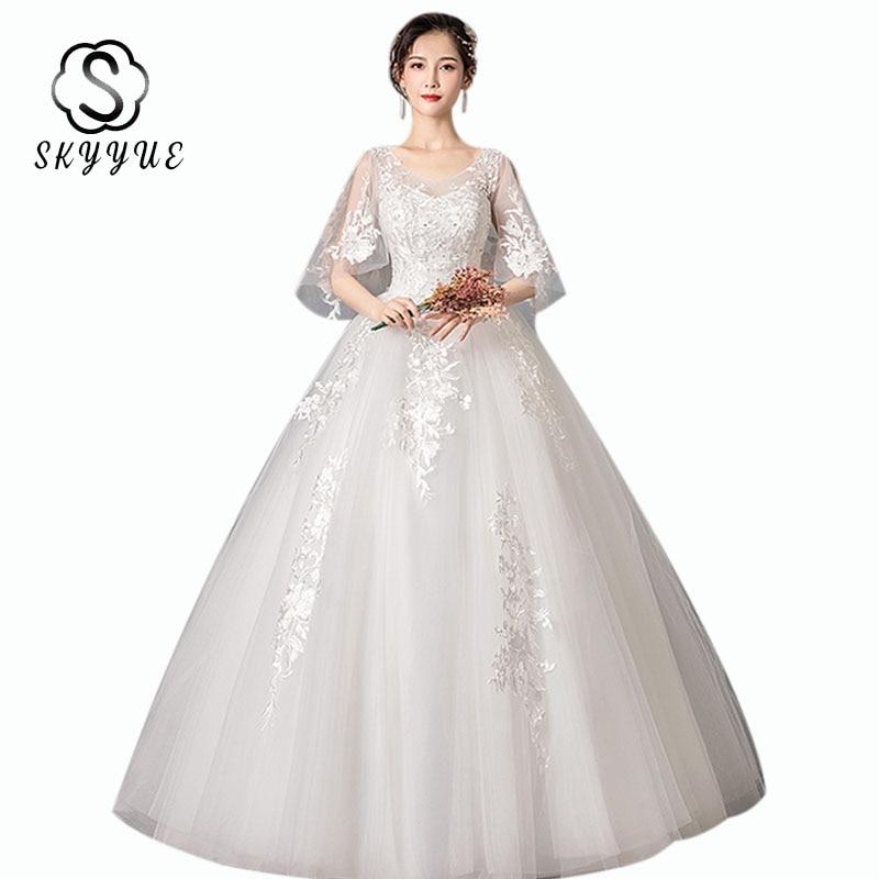Wedding Ball Gowns ER667 V-neck boho wedding dress Half Sleeve Lace Up Wedding Dresses Elegant Long Vestido De Noiva 2020