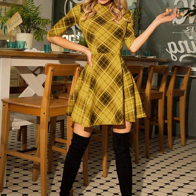 Scottish Plaid Slim Dress Cotton