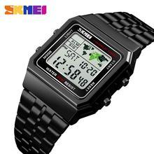 Moda SKMEI 1338 Top luksusowy sportowy zegarek mężczyźni budzik 3Bar wodoodporna stal nierdzewna pasek cyfrowe zegarki Reloj Hombre