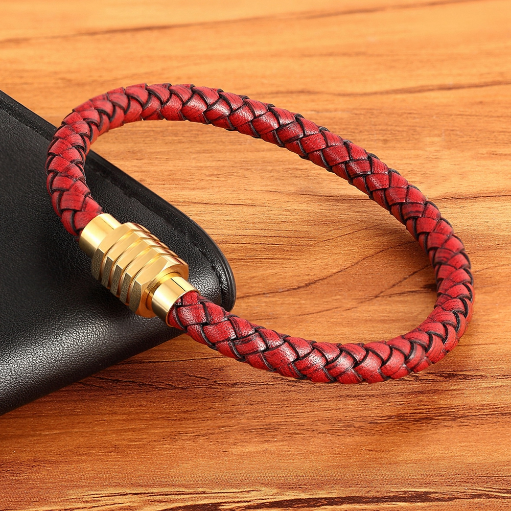 DIY Combination Custom Stainless Steel Men's Leather Bracelet High Quality Magnet Button Multicolor Choice For Handsome Boy Gift