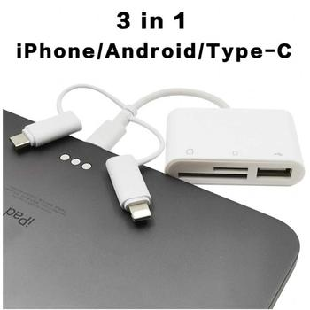 SD Card Reader Type SD/TF Memory Adapters 3 In 1 for iphone android type-c OTG cable