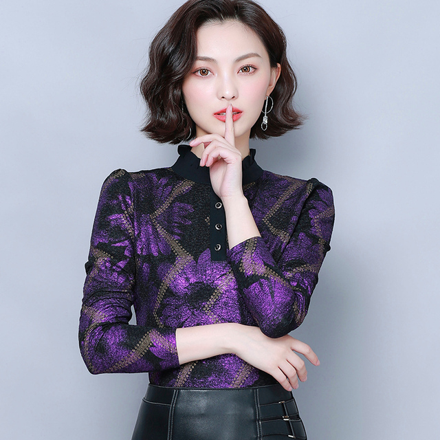 Women Blouses 2019 Autumn Fashion Print Womens Tops and Blouses Long Sleeve Stand Collar Plus Size Women Shirts Blusas Mujer 3