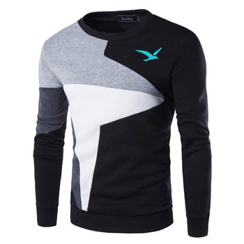 Sweaters Men European flag blue Seagull Printed Casual O-Neck Slim Cotton Knitted Mens Pullovers Brand Clothing