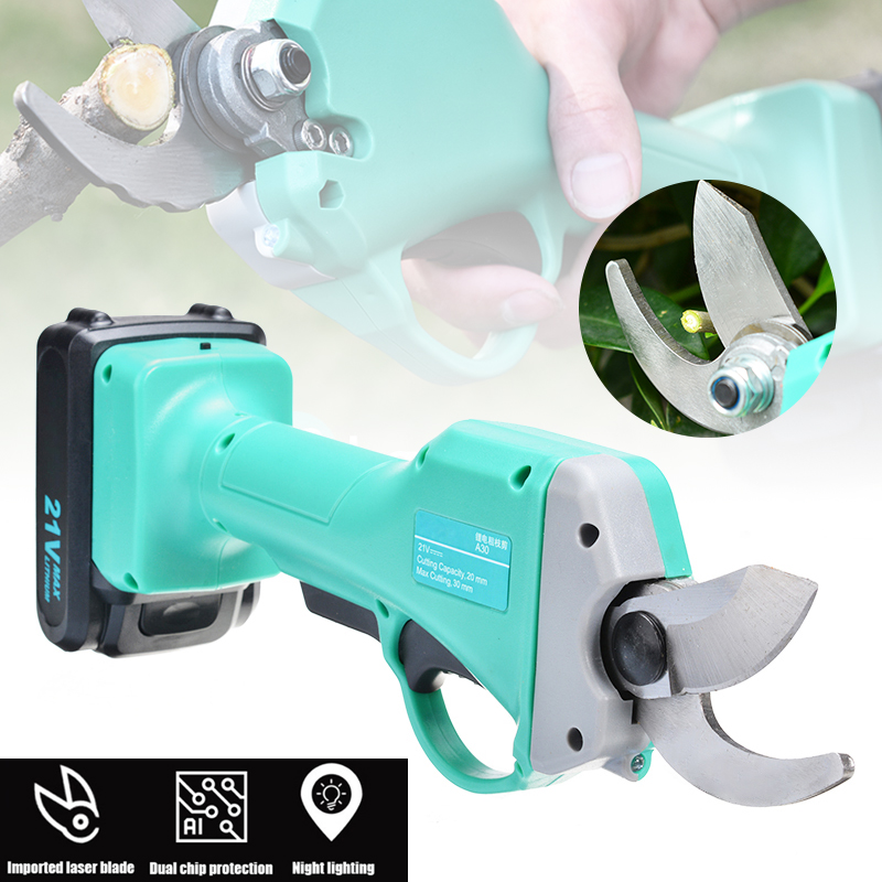 1pc Cordless Rechargeable Electric Pruning Shears Secateur Branch Cutter Scissor With Battery Garden Pruner Cutting Tool