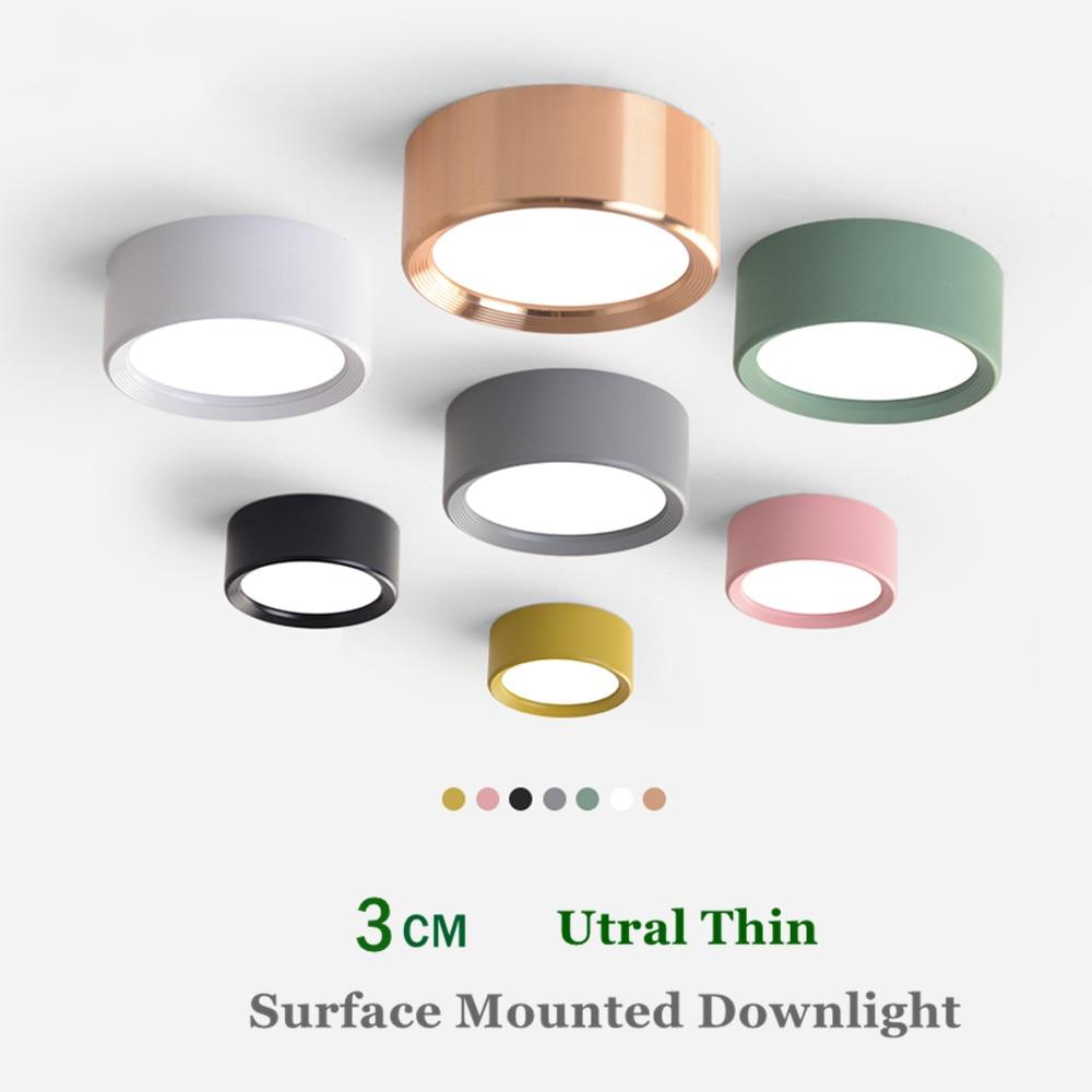 LED Downlight Modern renkli tavan lambası yüzeye monte Spot Led 3W 5W 7W 9W Ultra ince yatak odası oturma odası aydınlatma 220V