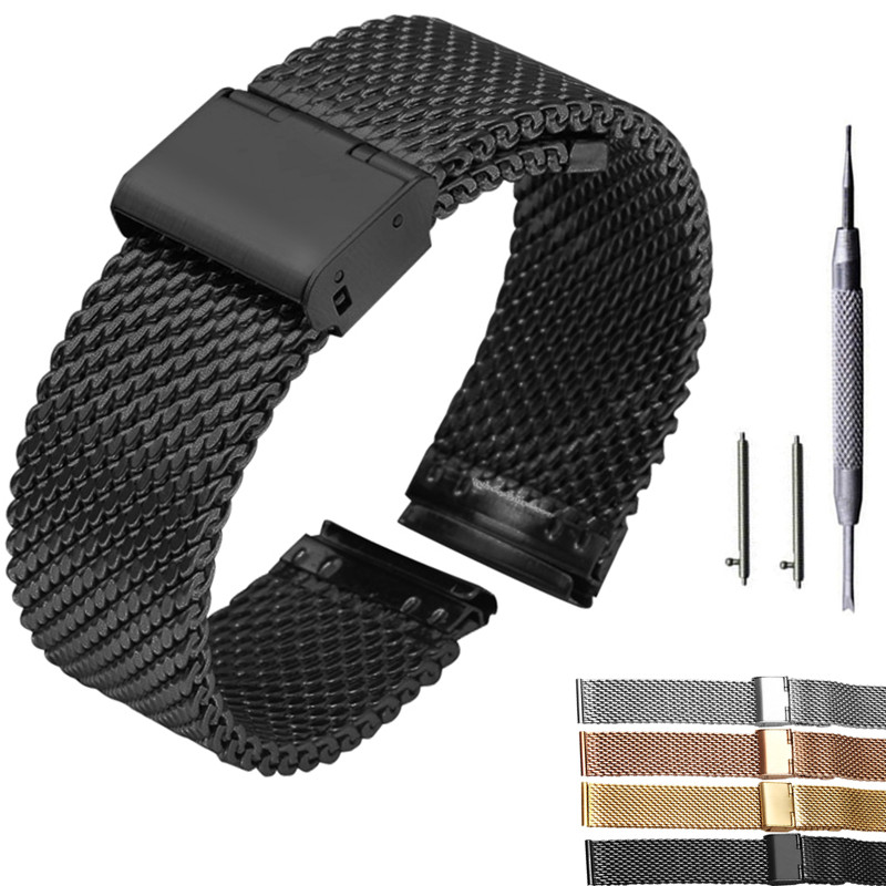 18mm 20mm 22mm 24mm Quick Release Universal Milanese Watchband Watch Band Mesh Stainless Steel Strap Wrist Belt Bracelet Black