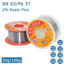 Novo 100g/50g 0.6/0.8/1/1.2 63/37 fluxo 2.0% 45ft estanho chumbo fio de estanho fusão rosin núcleo solda fio de solda rolo não-limpo