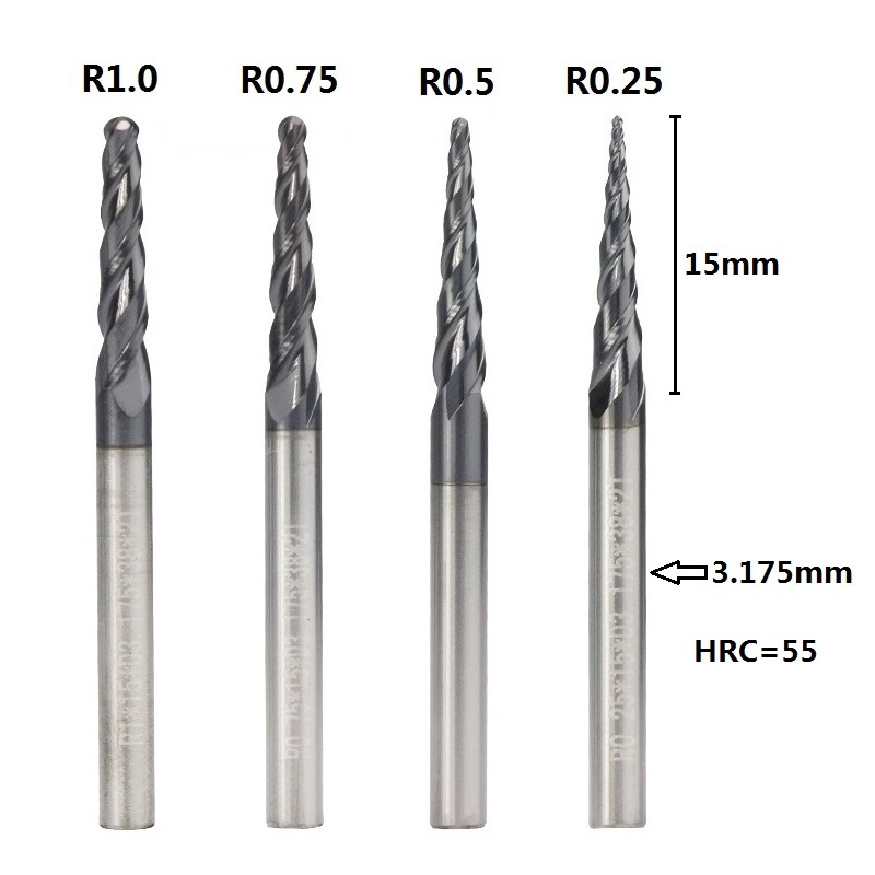 "3 pcs R0.25 1//8/"" 3.175mm shank HRC55 carbide Tapered Ball Nose End Mills"