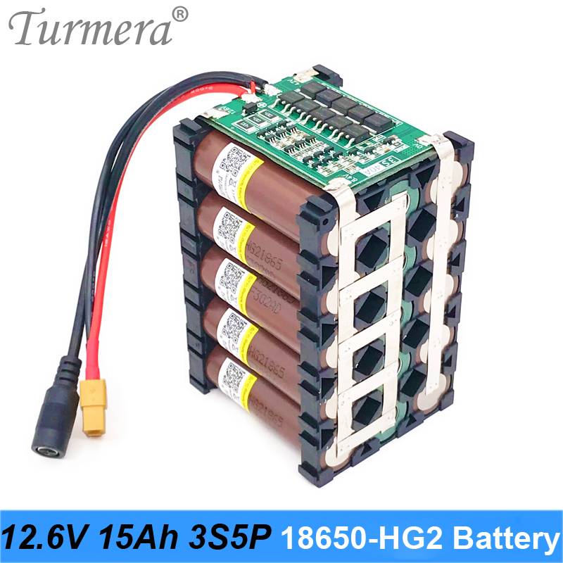 Turmera <font><b>12V</b></font> 15Ah Lithium <font><b>Battery</b></font> <font><b>18650</b></font> HG2 3000mAh 3S5P 12.6V With 3S 40A BMS for E-scooter and Uninterrupted Power Supply <font><b>12V</b></font> image