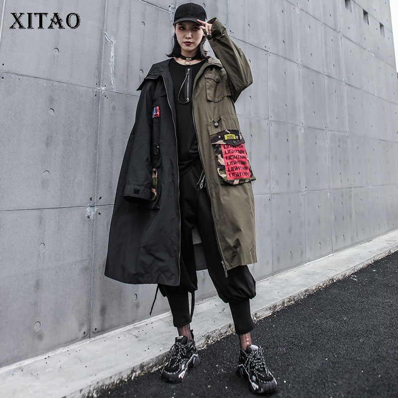 XITAO Hit Color Appliques   Trench   Women Korea Fashion New Patchwork Goddess Fan Pocket Straight Hooded Collar Coat GCC1463