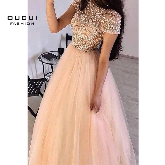 Phụ Nữ Chính Thức Bầu Dài Váy Đầm Dạ 2020 Cổ Tròn Thanh Lịch Voan Nắp Tay Chiếu Trúc Hạt Vũ Hội Đảng Đồ BẦU ĐẦM OL103469 Oucui