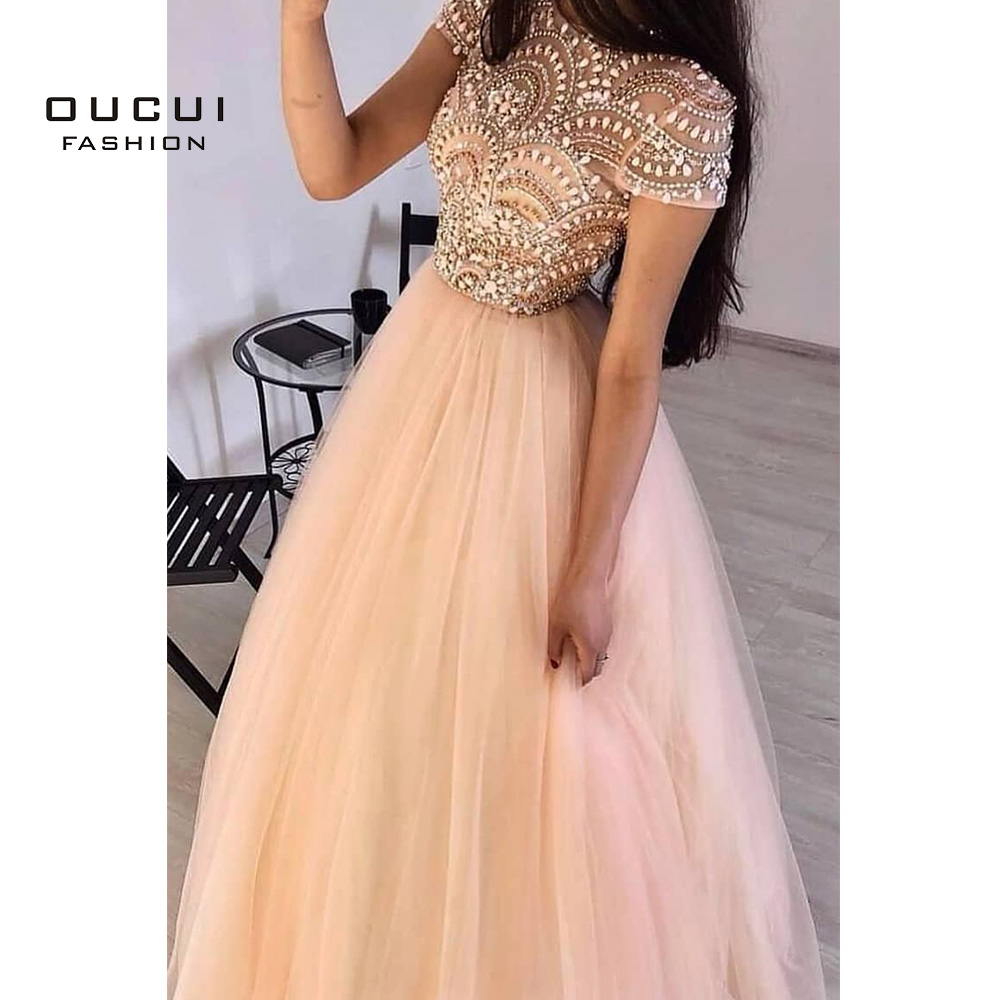 Women Formal Ball Gown Long Evening Dresses 2020 O-neck Elegant Tulle Cap Sleeve Beading Prom Party Gowns Dress OL103469 Oucui