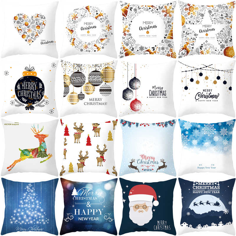 Christmas Cushion Cover 45*45 black white Merry Christmas  Printed Polyester Decorative Pillows Sofa Home Decoration TRP084